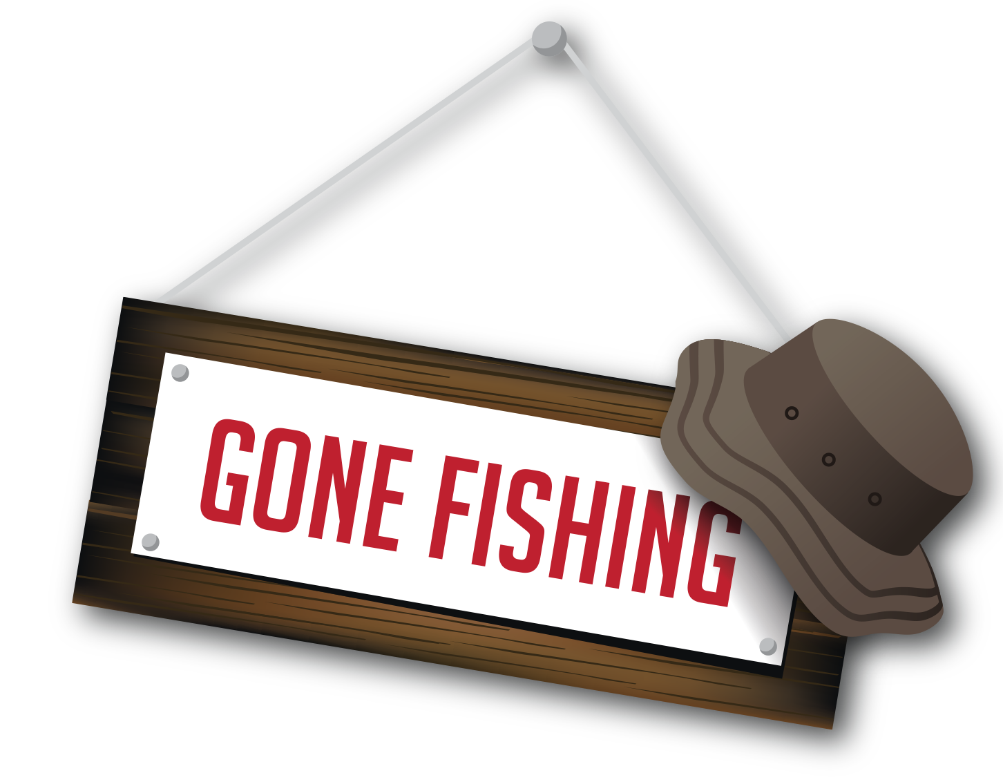 "Sign that says ""gone fishing"" with fishing hat on the corner"
